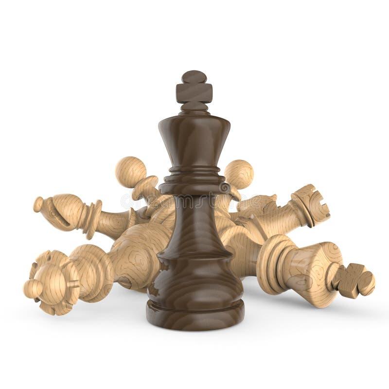 Zwarte houten koning die zich meer dan gevallen houten witte schaakstukken bevinden stock illustratie