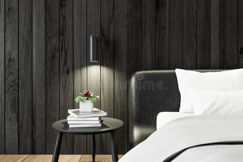 Zwarte houten slaapkamer, dichte omhooggaand van de bedlijst stock illustratie