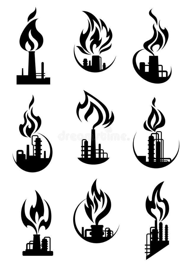 Zwarte industriële chemische fabriekspictogrammen stock illustratie