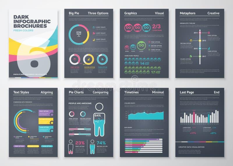 Zwarte infographic bedrijfsbrochureelementen in vectorformaat stock afbeeldingen
