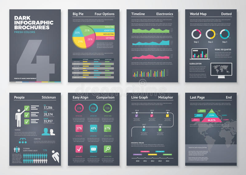 Zwarte infographic malplaatjes in brochurestijl stock afbeelding