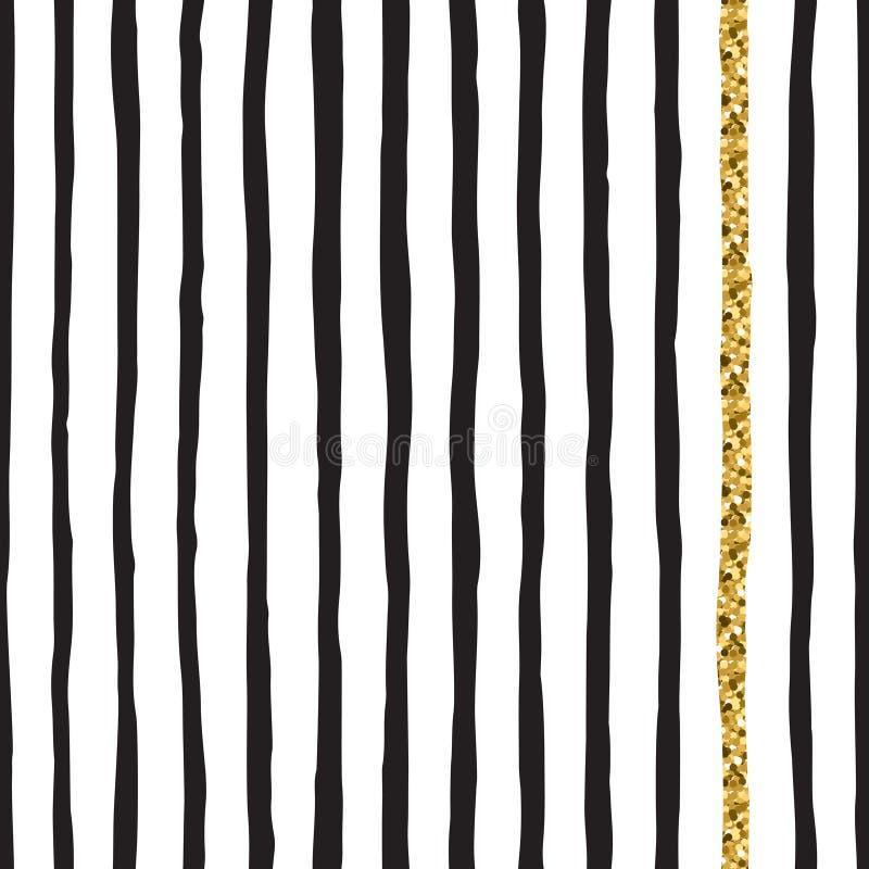 Zwarte inkt & gouden hand getrokken vector naadloze verticale lijnen patte stock illustratie
