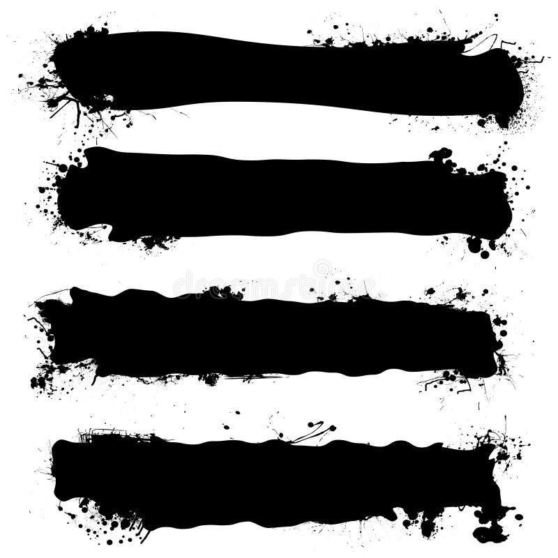 Zwarte inktbanner stock illustratie