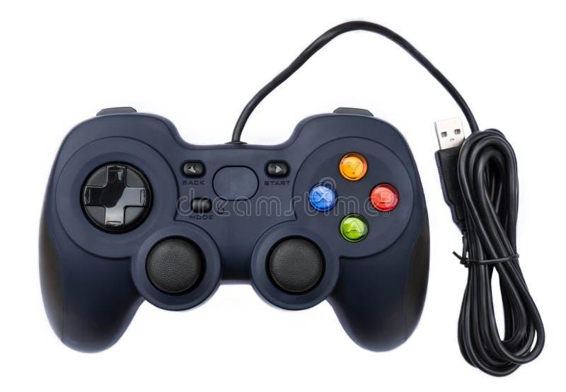 Zwarte joystock voor consolevideospelletje op geïsoleerde achtergrond royalty-vrije stock fotografie
