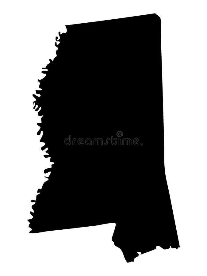 Zwarte Kaart van de Staat van de V.S. van de Mississippi stock illustratie