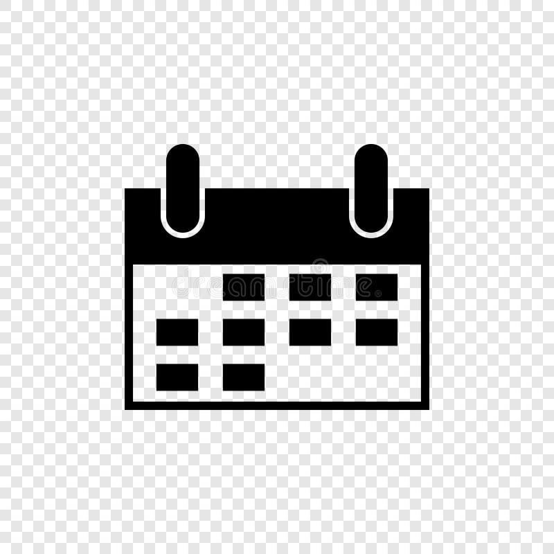 Zwarte kalender in vlakke stijl op transparante achtergrond Het pictogram van het Web Tijdschema - vectorpictogram stock illustratie