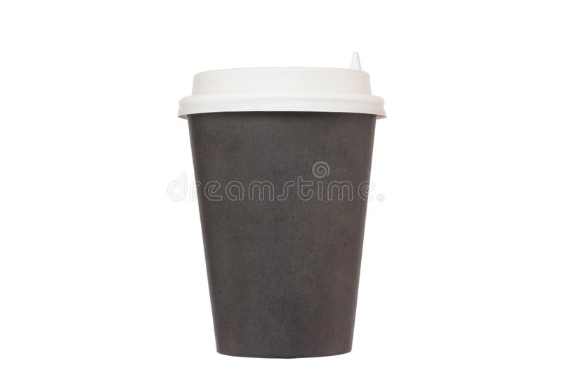 Zwarte kartonkop voor meeneemkoffie met een witte plastic Li stock afbeeldingen