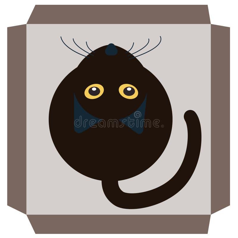 Zwarte kat in een doos royalty-vrije illustratie