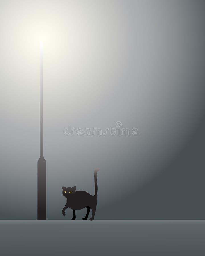 Zwarte kat en lamppost royalty-vrije illustratie