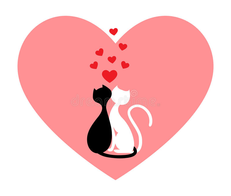 Zwarte kat en witte kat vector illustratie