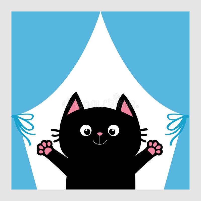 Zwarte kat in het venster Gordijn met boog De open druk van de handpoot Pot die voor een omhelzing bereiken Grappig Kawaii-dier D stock illustratie