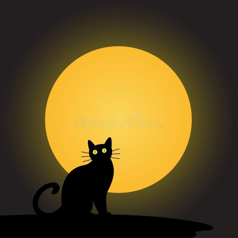 Zwarte kat met de maan stock illustratie