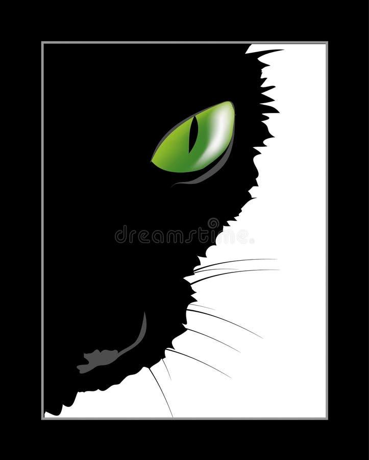 Zwarte kat met groen oog vector illustratie