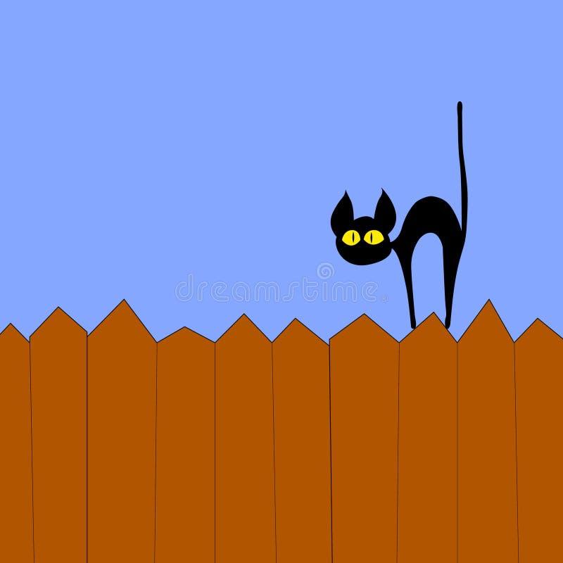 Zwarte kat op de omheining royalty-vrije illustratie