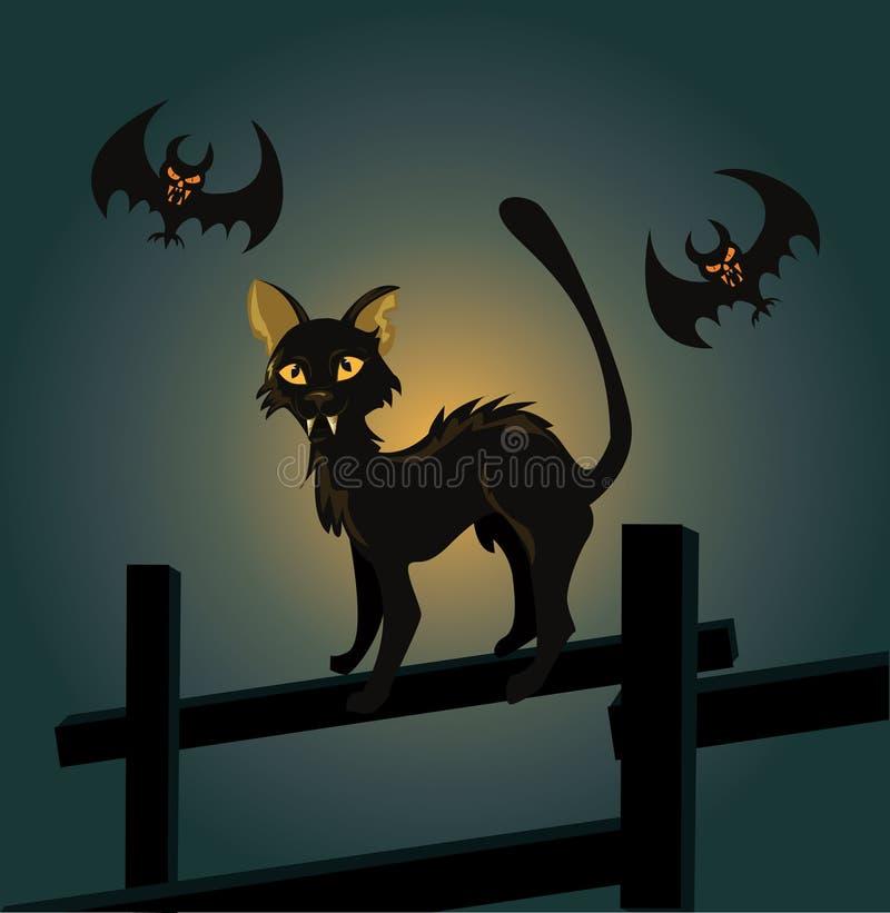 Zwarte kat op een omheining en een vampier royalty-vrije illustratie