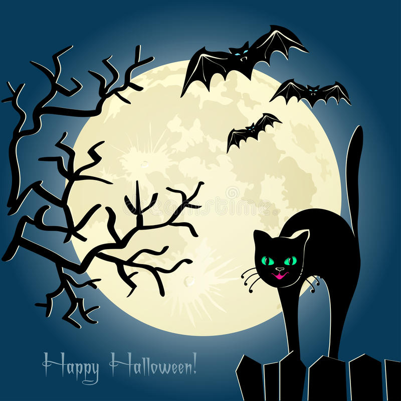 Zwarte kat op een omheining voor de maan vector illustratie