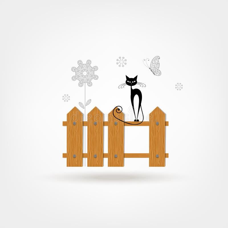 Zwarte kat op houten omheining voor uw ontwerp vector illustratie