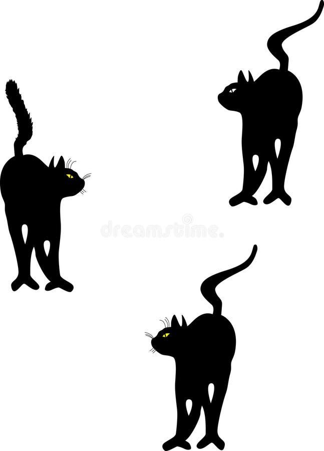 Zwarte katten stock illustratie