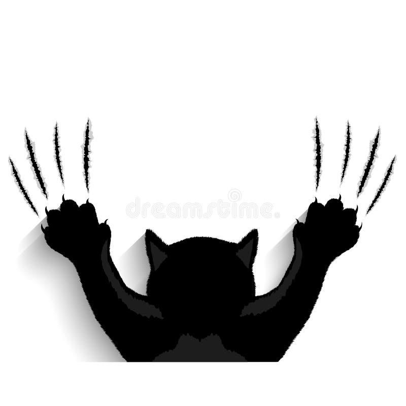 Zwarte katten tearing achtergrond vector illustratie