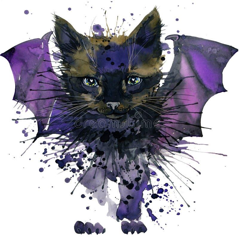 Zwarte kattenillustratie met de geweven achtergrond van de plonswaterverf royalty-vrije illustratie