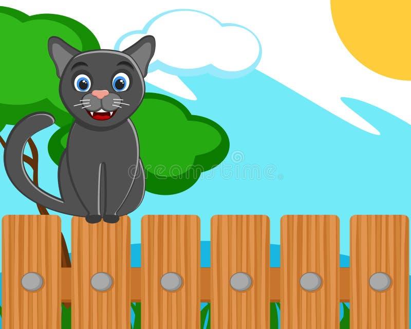 Zwarte kattenzitting op een houten omheining stock illustratie