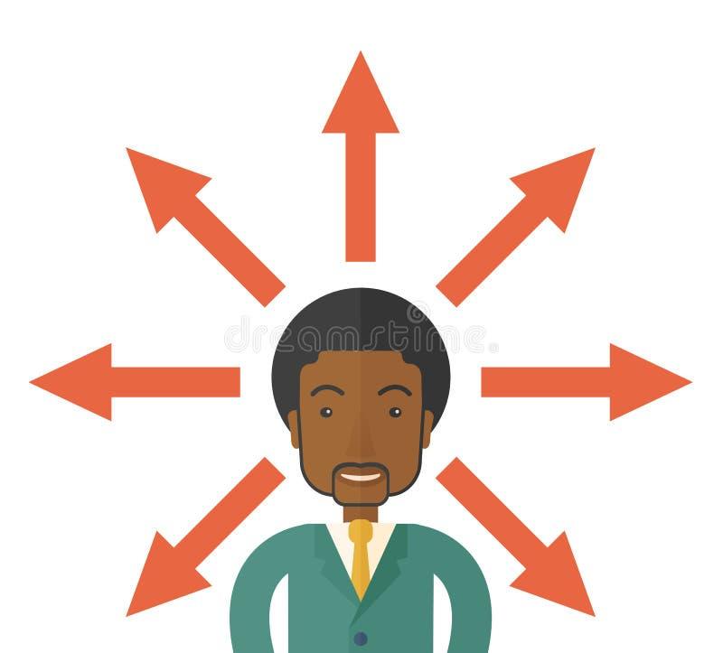 Zwarte kerel met teveel pijlen vector illustratie