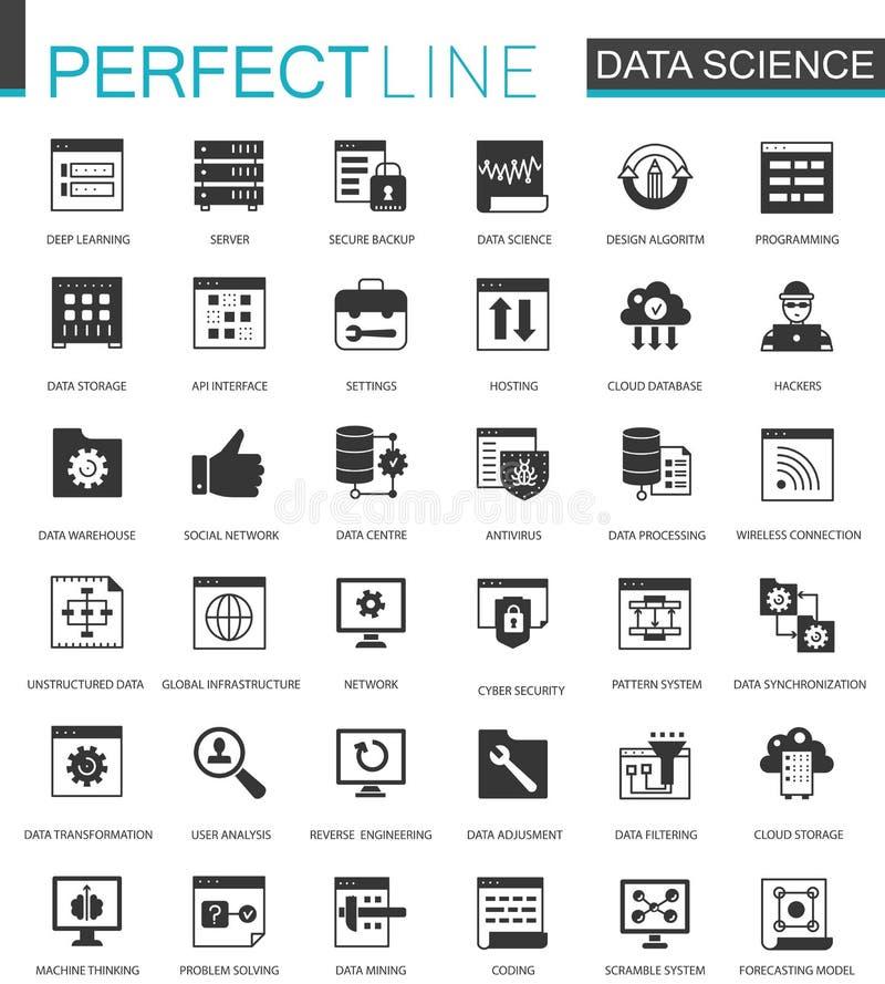 Zwarte klassieke Gegevenswetenschap, geplaatste de pictogrammen van de gegevensanalyse stock illustratie