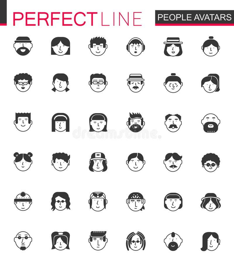 Zwarte klassieke Mannen en Vrouwenkaraktersavatars geplaatste pictogrammen Mensenavatar voor Web, profielpagina of sociaal netwer royalty-vrije illustratie