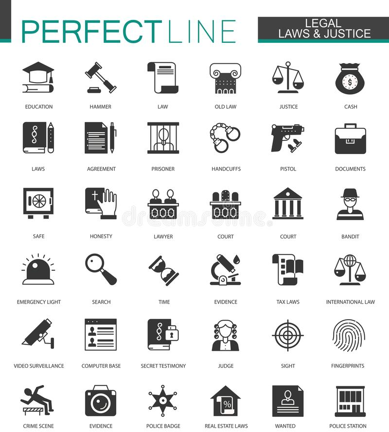 Zwarte klassieke Wettelijke, wets en rechtvaardigheidspictogrammen geplaatst geïsoleerd royalty-vrije illustratie