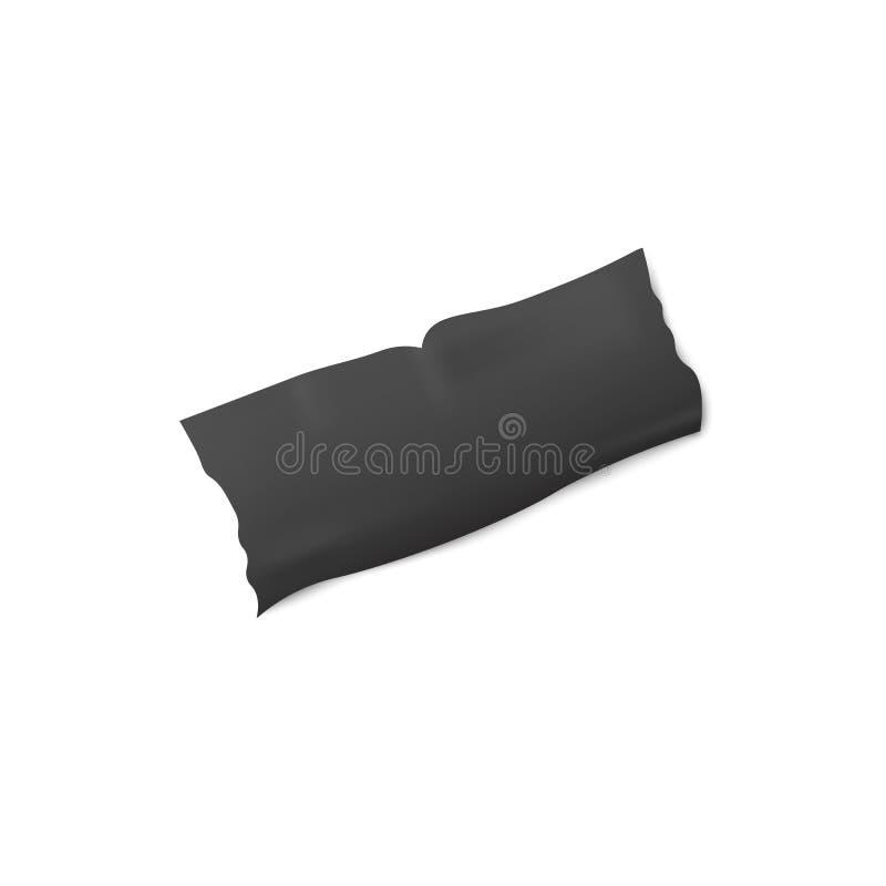 Zwarte kleefstof of isolatieband gescheurde geïsoleerde strook 3d vectorillustratie royalty-vrije illustratie