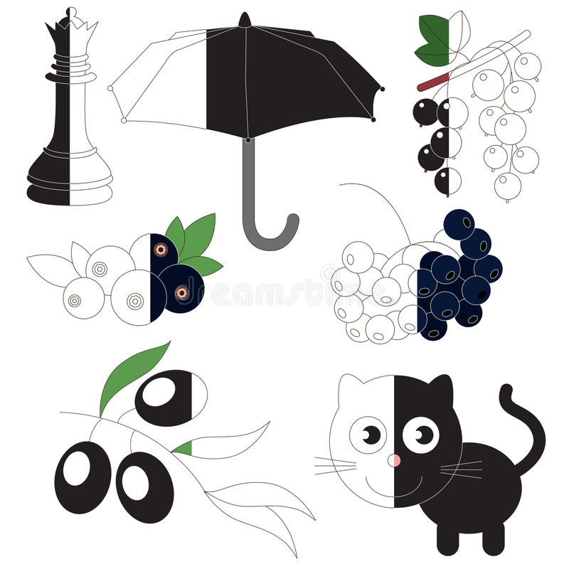 Zwarte kleur, het grote jong geitjespel dat door voorbeeld half moet worden gekleurd stock illustratie