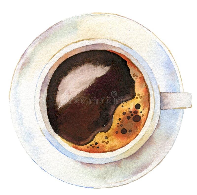 Zwarte koffie in een hoogste die mening van de koffiekop op witte achtergrond wordt ge?soleerd stock foto's