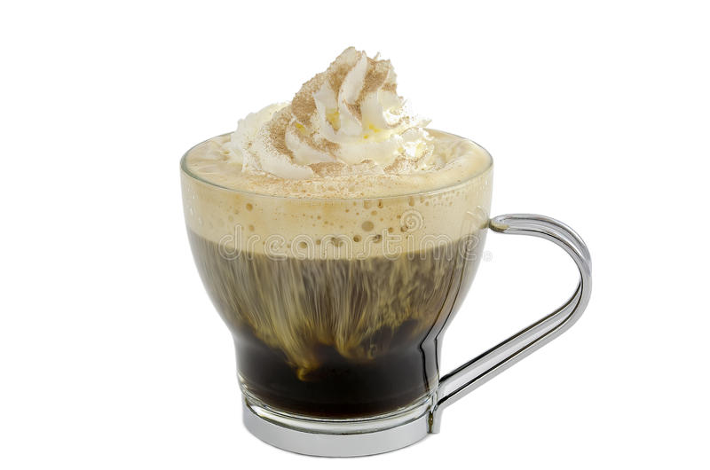 Zwarte koffie met room stock foto's