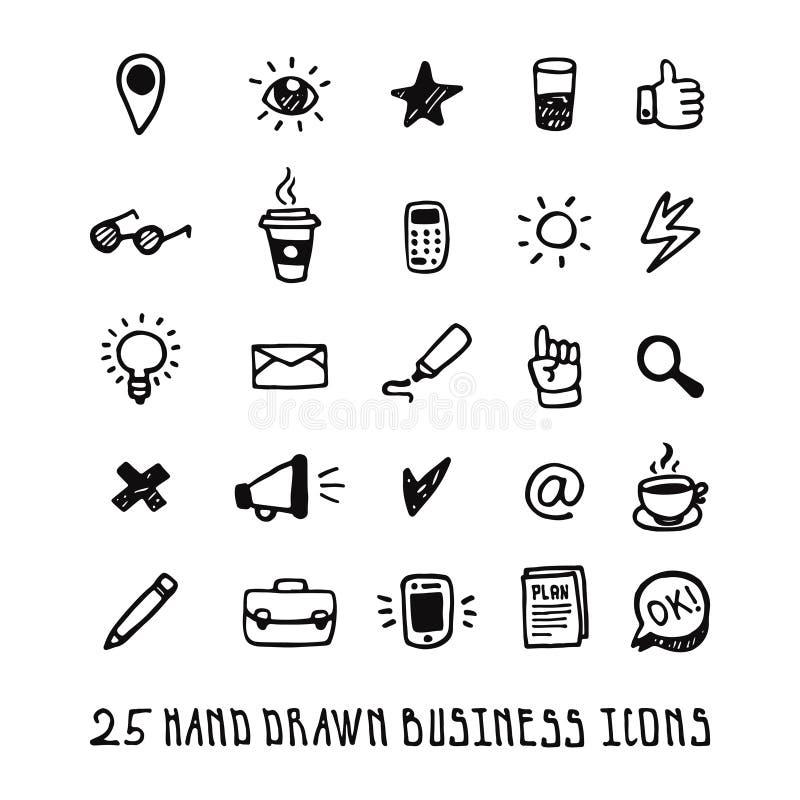Zwarte krabbelhand getrokken bedrijfs geplaatste pictogrammen royalty-vrije illustratie