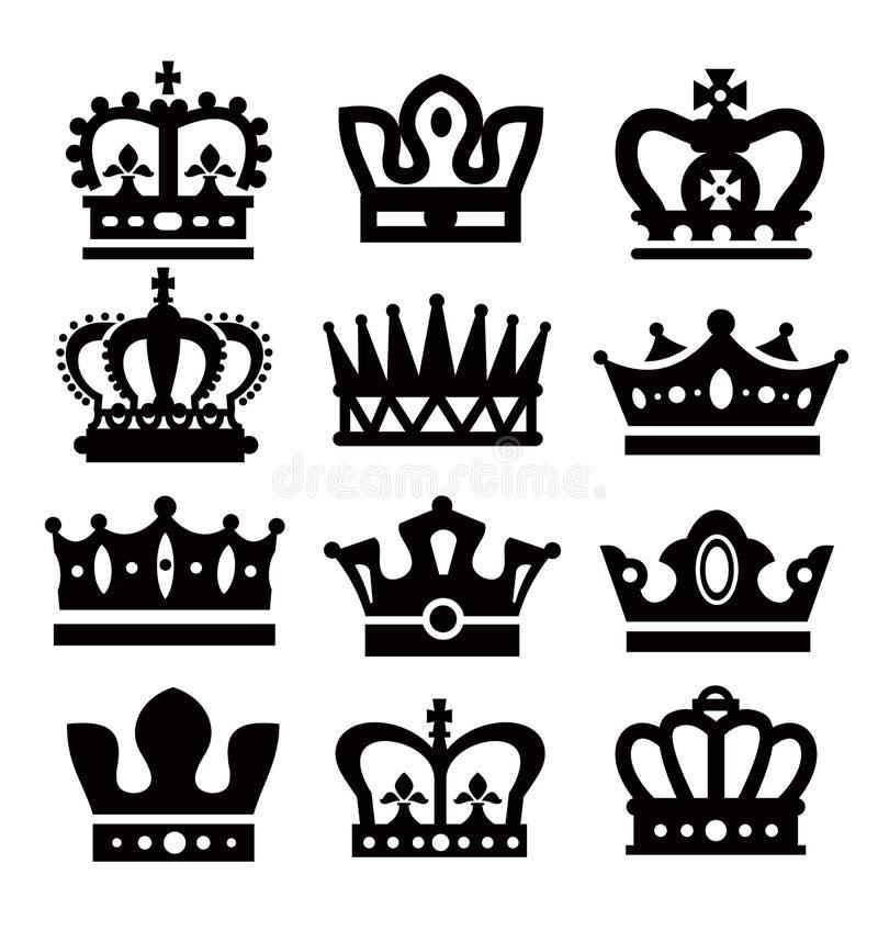 Zwarte kronen stock illustratie
