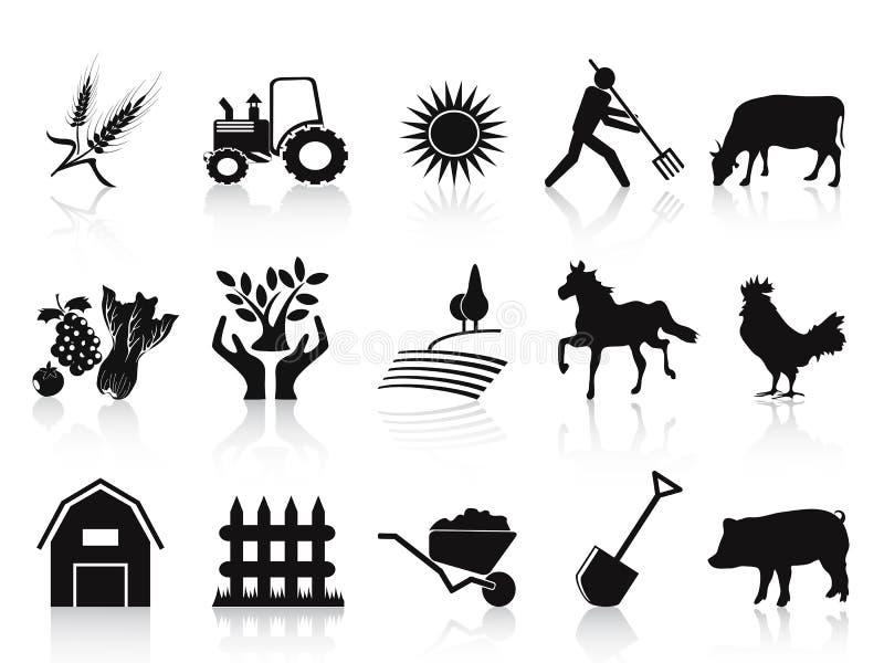 Zwarte landbouwbedrijf en landbouw geplaatste pictogrammen stock illustratie