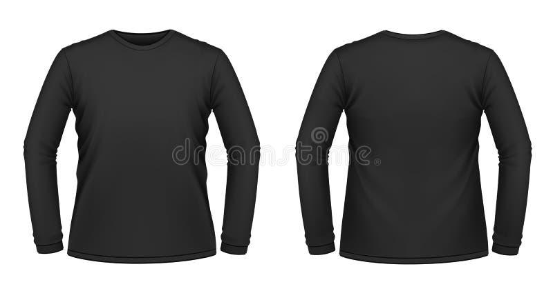 Zwarte lang-sleeved T-shirt stock illustratie