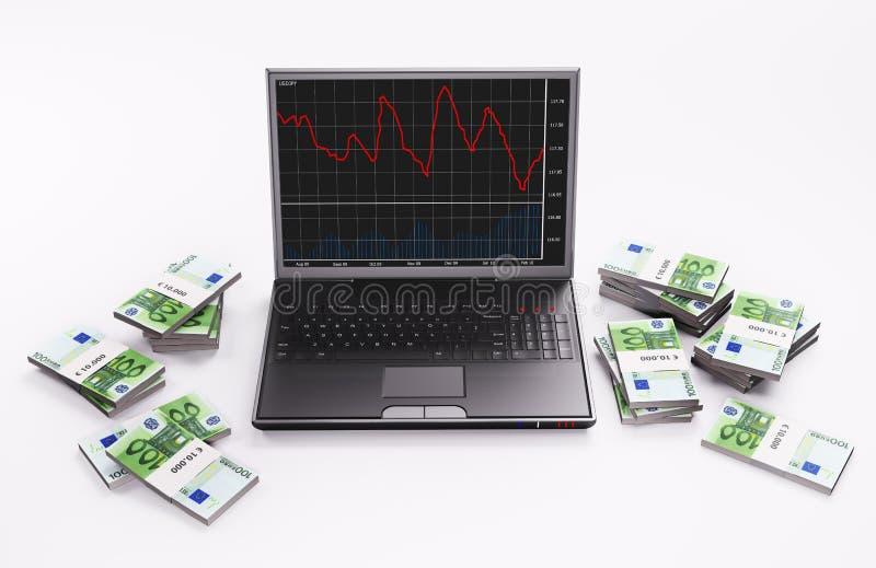 Zwarte Laptop en stapels 3d euro vector illustratie