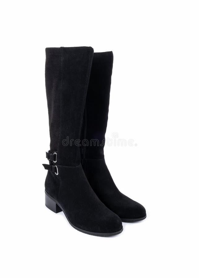 Zwarte leder van vrouwen Suede Boots 1 stock foto's