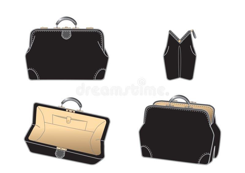 Zwarte leder-zak stock illustratie