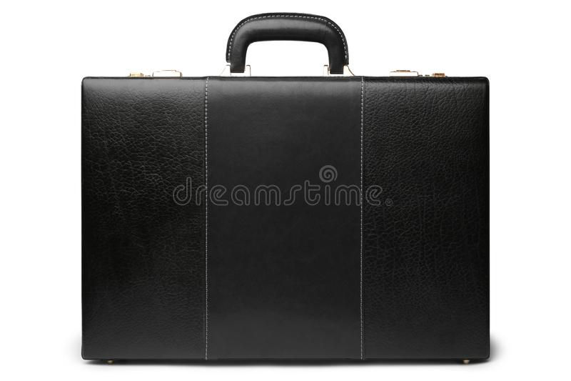 Zwarte lederen business-koffer royalty-vrije stock afbeelding