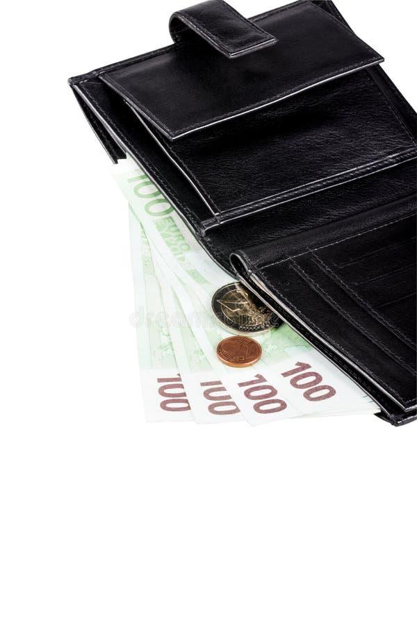 Zwarte leerportefeuille met euro bankbiljetten en muntstukken stock foto
