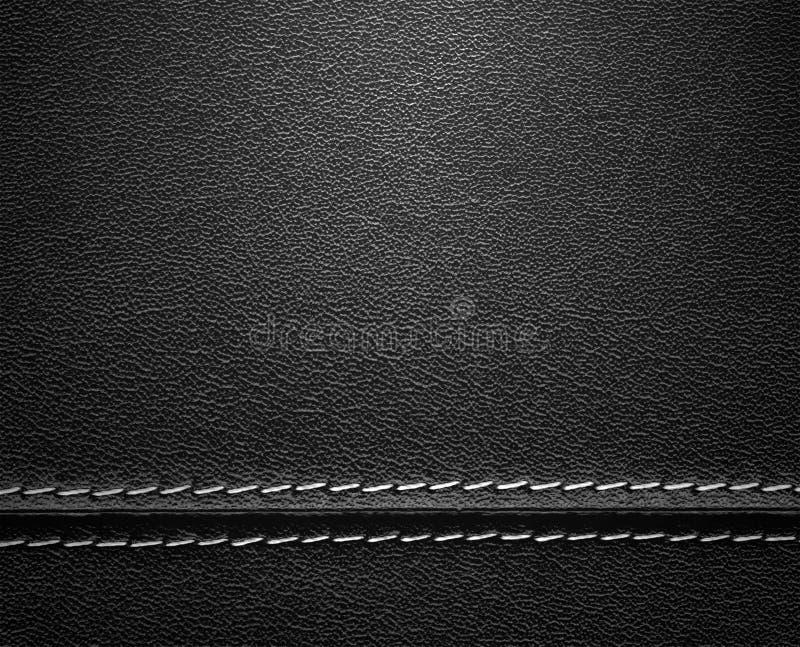 Zwarte Leertextuur met Steek stock afbeelding