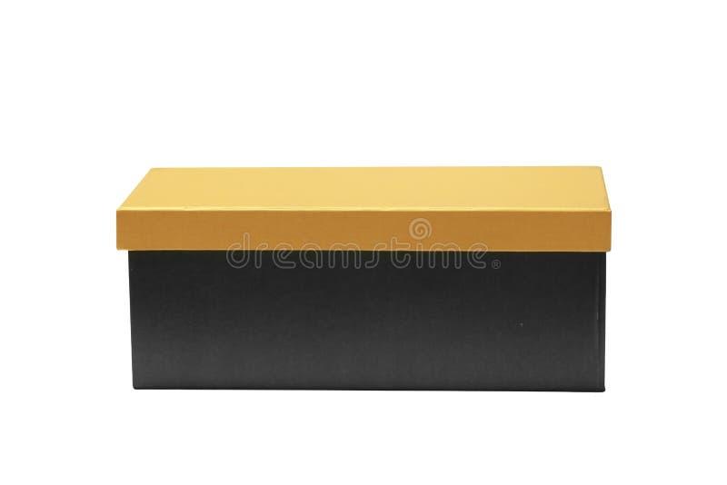 Zwarte lege doos op witte achtergrond stock foto