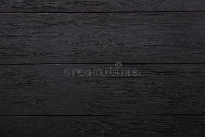 Zwarte lege lege houten achtergrond, de geschilderde donkere oppervlakte van het lijstbureau, houten textuurraad met exemplaar ru stock afbeelding