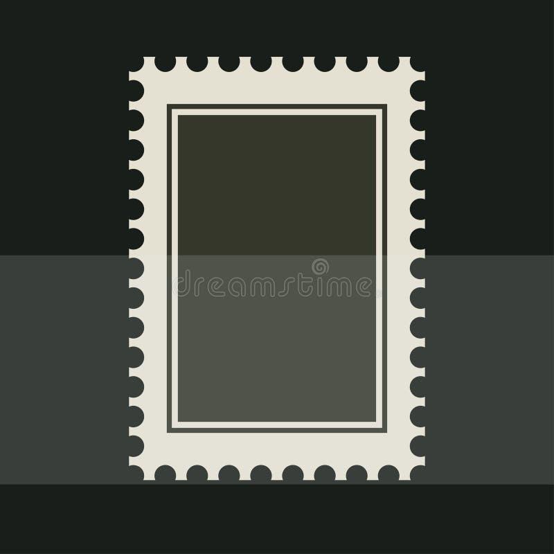 Zwarte lege postzegel Getande grenssticker Vector vlakke retro stijlillustratie op donkere achtergrond stock illustratie