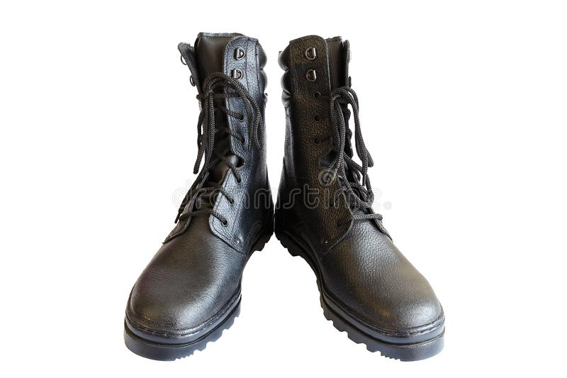 Zwarte legerlaarzen op witte achtergrond Speciaal schoeisel Ge?soleerde Een paar militaire laarzen Geen mensen royalty-vrije stock fotografie