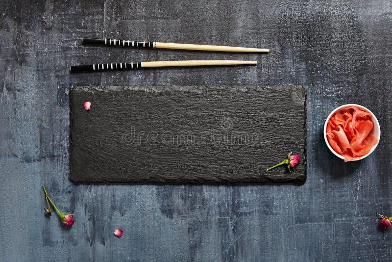 Zwarte Leiplaat met Eetstokje royalty-vrije stock afbeeldingen