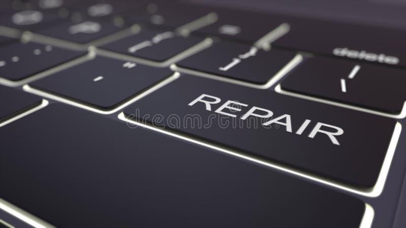 Zwarte lichtgevende computertoetsenbord en reparatiesleutel Het conceptuele 3d teruggeven vector illustratie