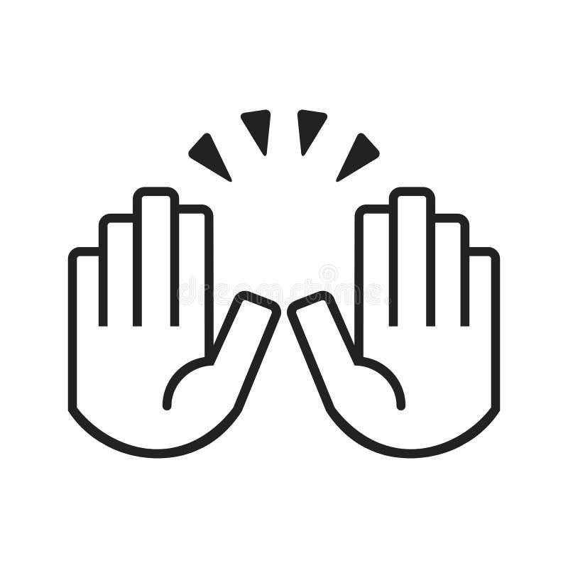 Zwarte lijn twee die de pictogrammen van vieringshanden op witte achtergrond opheffen stock illustratie